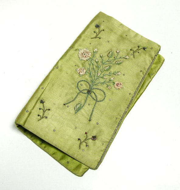 Spring Green embroidered 18th c wallet