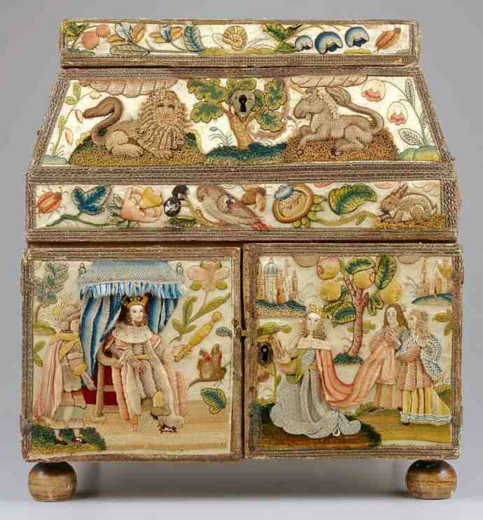 17th c Stumpwork casket