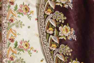 18th c court suit embroidered with pansies and roses on violet velvet