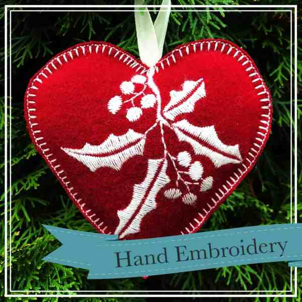 embroidered holly ornament