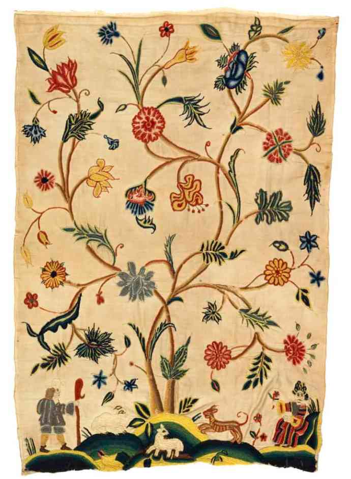 1600s embroidery styles - bed hanging in Jacobean embroidery