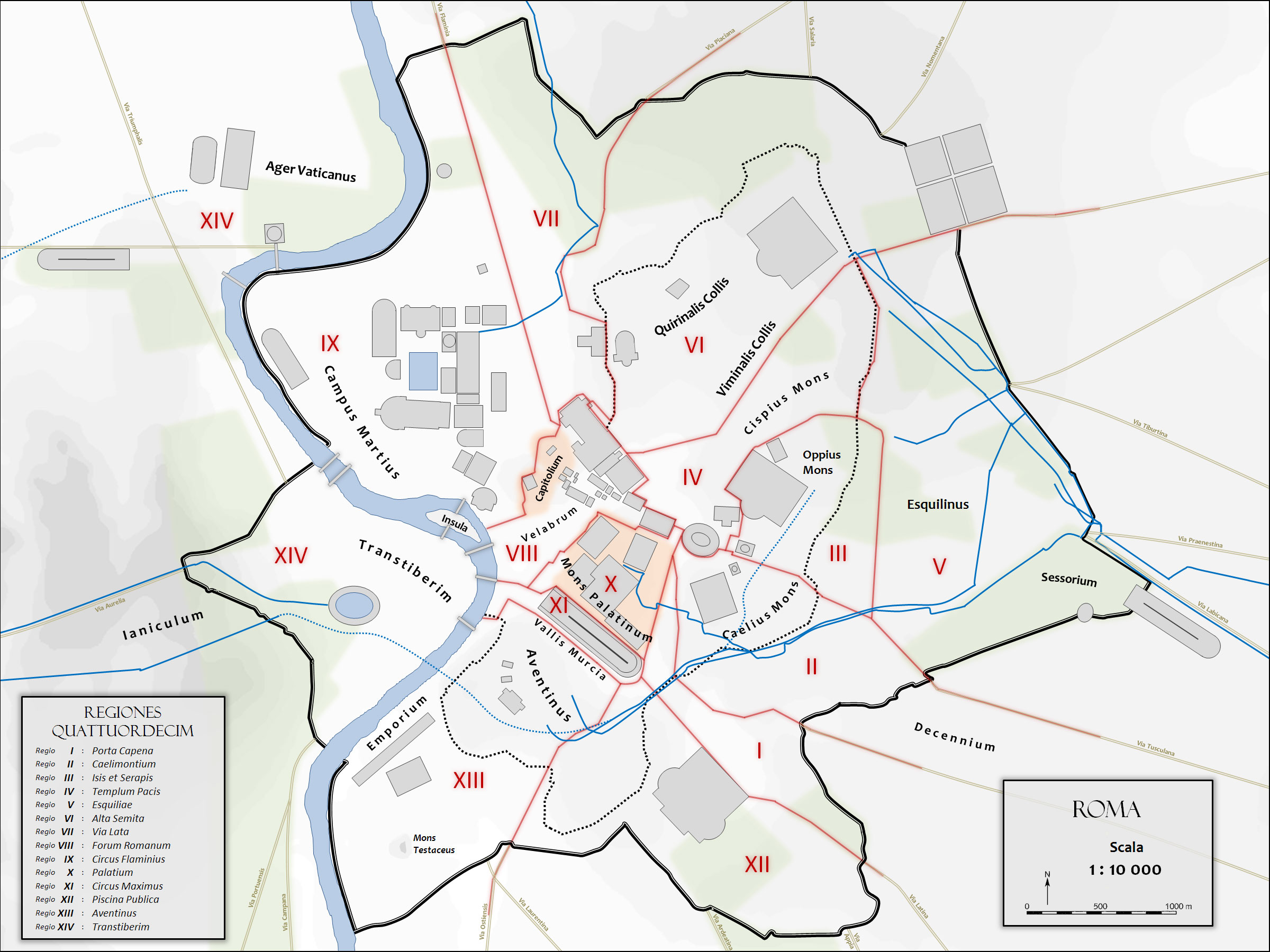 Map Of Ancient Rome With The The City Monuments