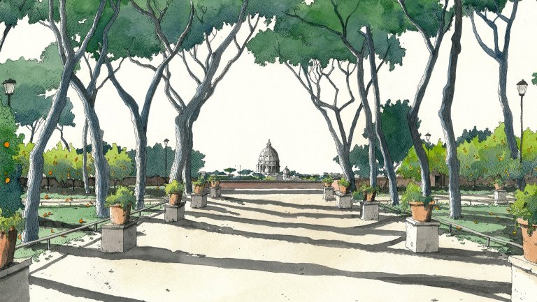 Garden of the Oranges as drawn by Fabio Barilari
