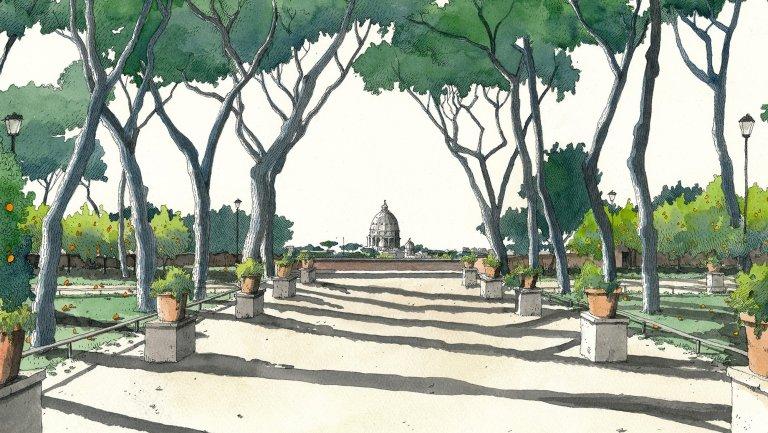 Garden of the Oranges as drawn by Fabio Barilari