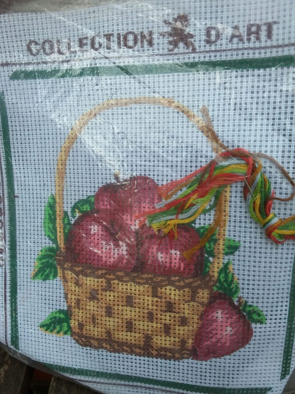 Basket of Apples - Printed canvas plus wools and threads. No instuctions. £1.00