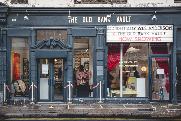 The Old Bank Vault gallery with the cinematic pop up sign