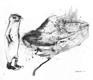 La rana y la fuente - tinta sobre papel - 20 x 30 cm