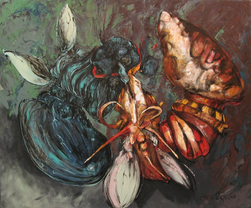 Relación del combate entre la abeja chaqueta amarilla y el tábano patagónico - óleo sobre lienzo - 100 x 120 cm