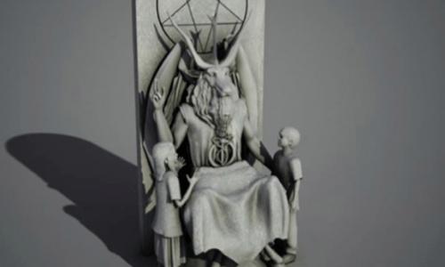 Una statua di Satana davanti al Parlamento dell'Oklahoma