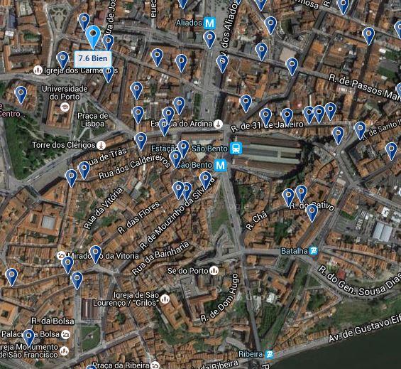 Mapa Zona donde nos hospedamos, Oporto, Portugal, 2014