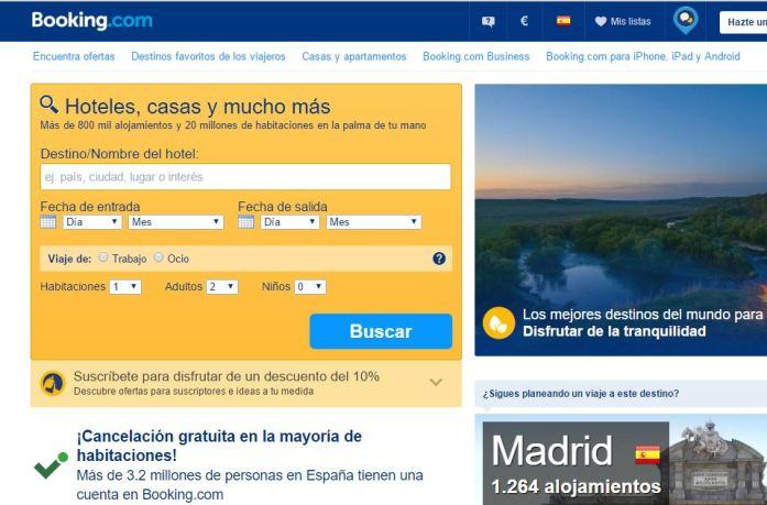 Web de Booking, plataforma para encontrar hoteles y hostales en todo el mundo