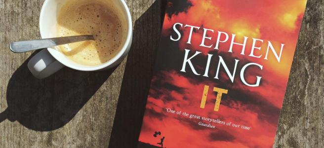 IT Stephen King cover with a coffee