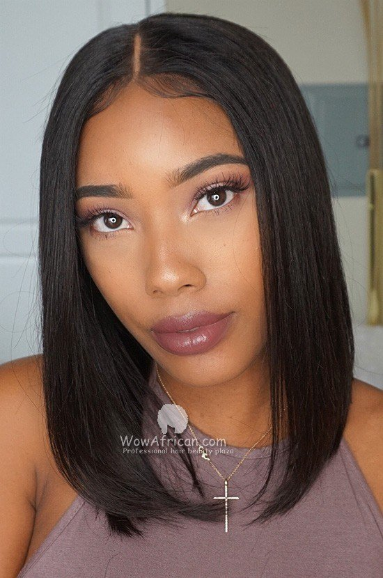 The Best Silky Straight Blunt Bob Brazilian V*Rg*N Hair Lace Wig Pictures
