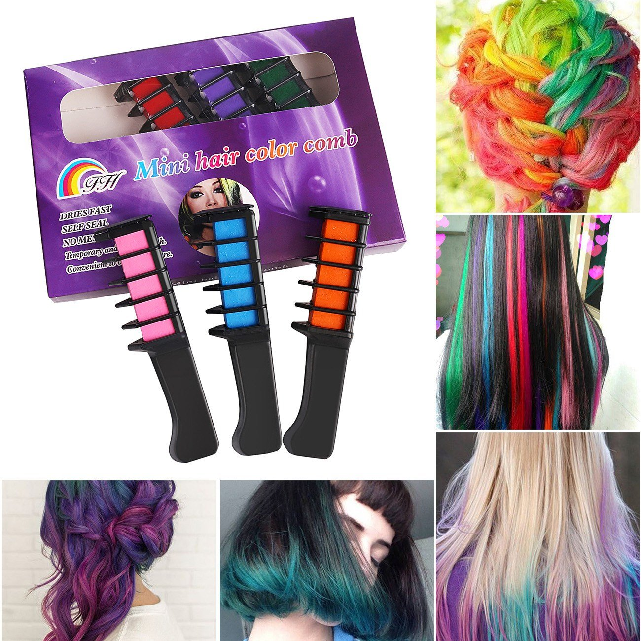 The Best 6X Temporary Hair Chalk Soft Pastels Cream Comb Brush Hair Pictures