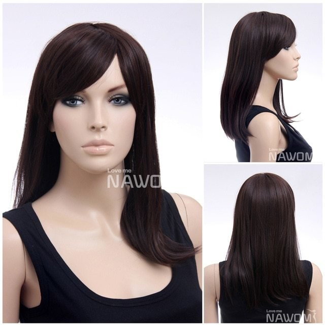 The Best Natural Synthetic Fiber Dark Brown Side Swept Bang Armpit Pictures