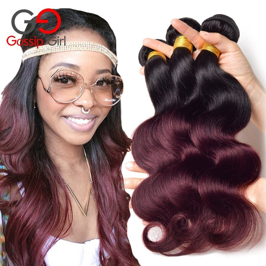 The Best Ombre Hair Bundles Brazilian V*Rg*N Hair Body Wave Bundles Ombre Human Hair Weave Two Tone 1B Pictures