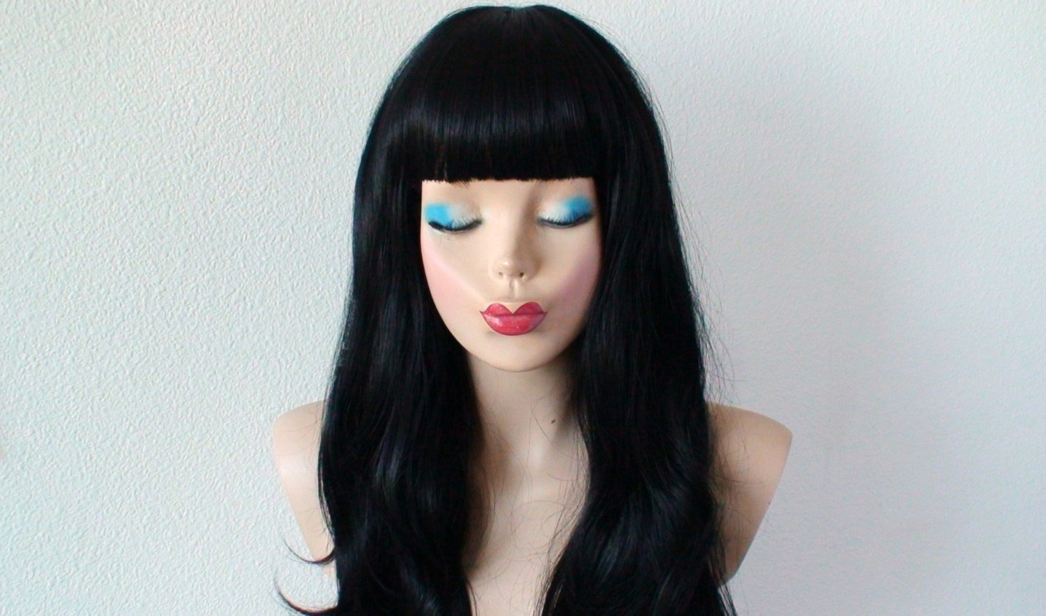 The Best Black Wig Long Black Hair Wig Straight Across Bangs Wig Pictures