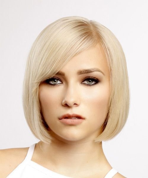 The Best Short Straight Formal Bob Hairstyle With Side Swept Bangs Pictures