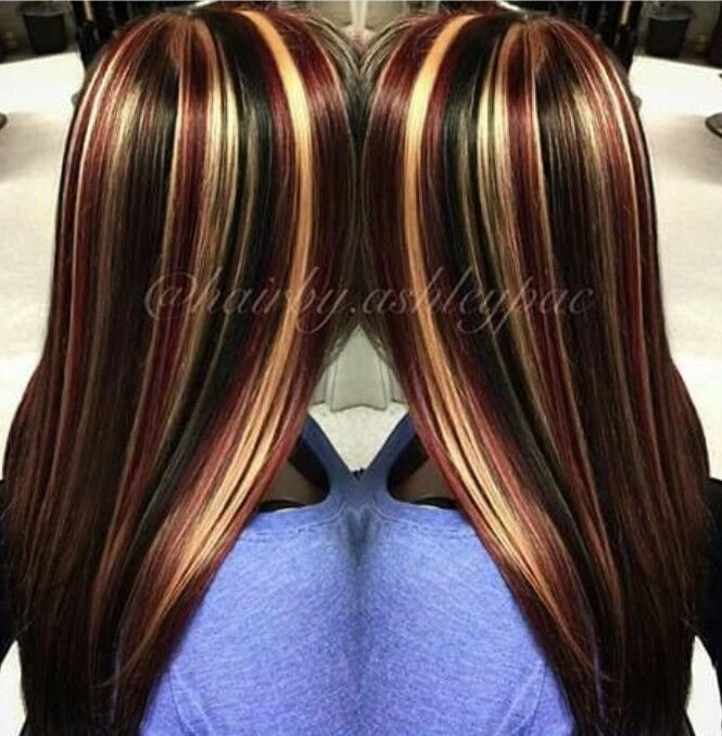 The Best Black Hair With Chunky Red And Blonde Highlights ♡Hair Pictures