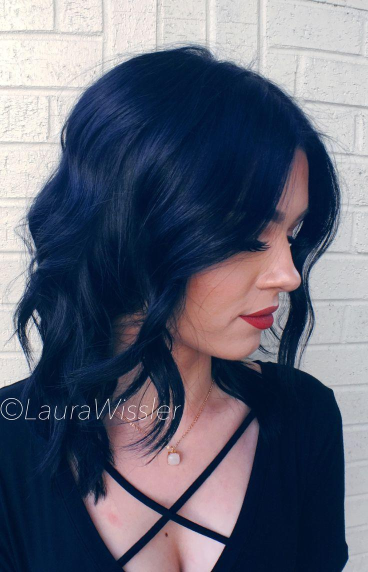 The Best Midnight Blue Black Hair Color Textured Lob Instagram Pictures