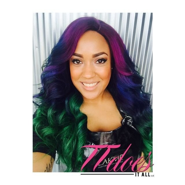 The Best Purple Blue And Green Hair Custom Color Melt Custom Wig Pictures