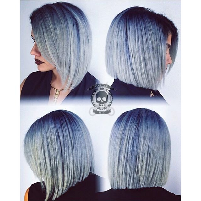 The Best Smoky Blue Platinum Hair Color With Deeper Blue Shadow Pictures