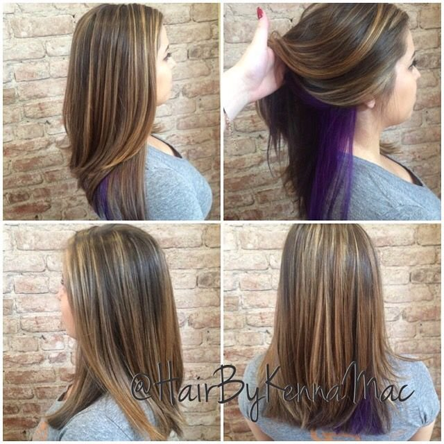 The Best Purple Peekaboo And Highlights Hair By Kenna Mac Hair Pictures