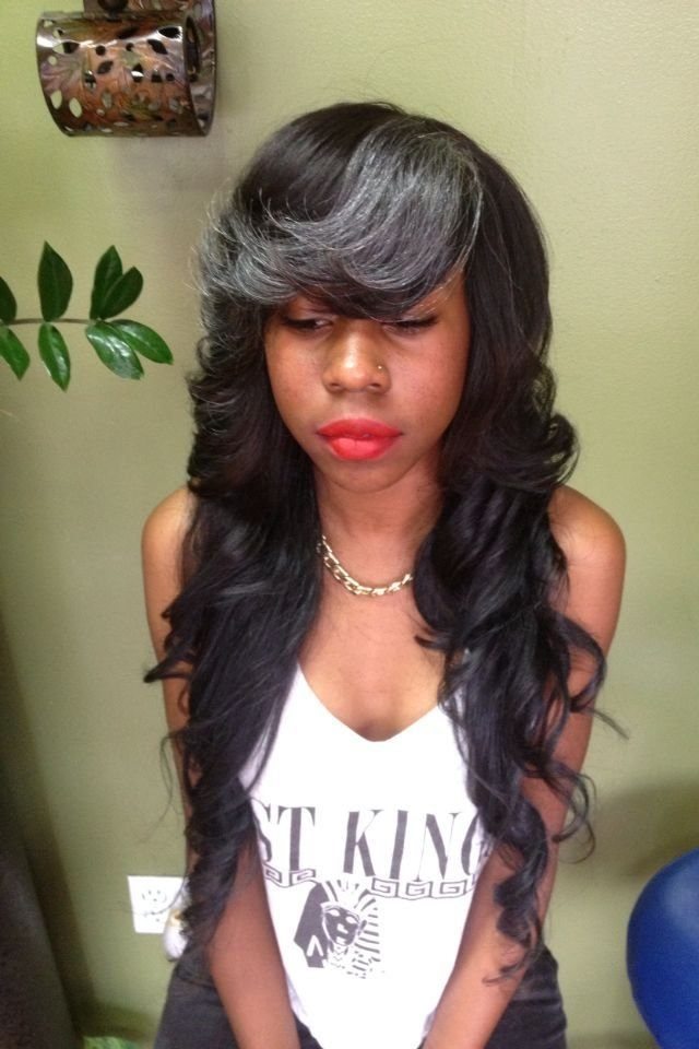 The Best Long Layered Weave With Gray Bangs Long Weave Long Pictures