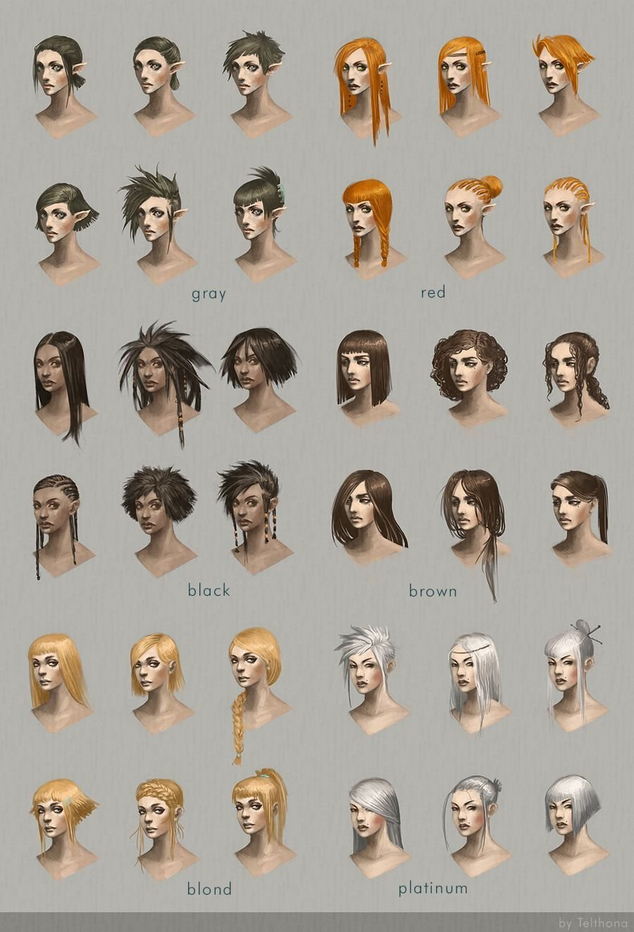 The Best Hairstyle Concept Art By Telthona Elf Human Satyr Chart Pictures