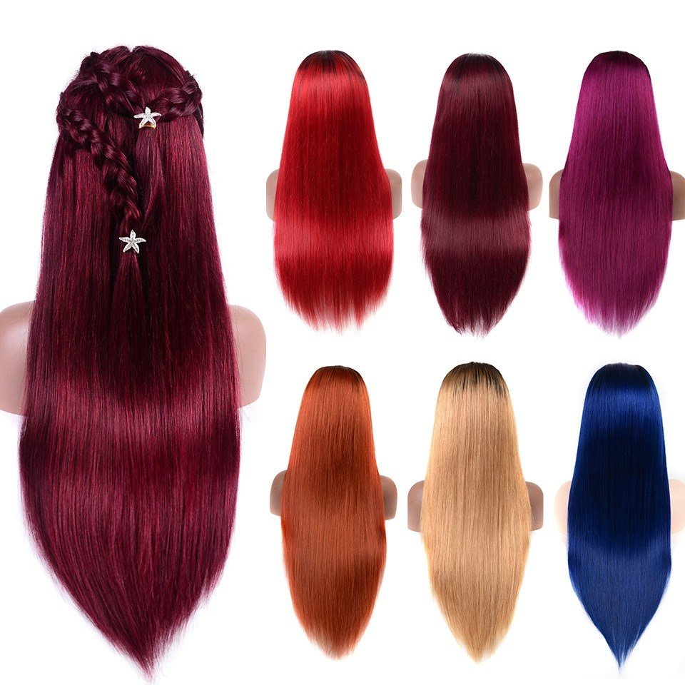 The Best Human Hair Color Wigs Slightly Bleached Knots Straight Pictures