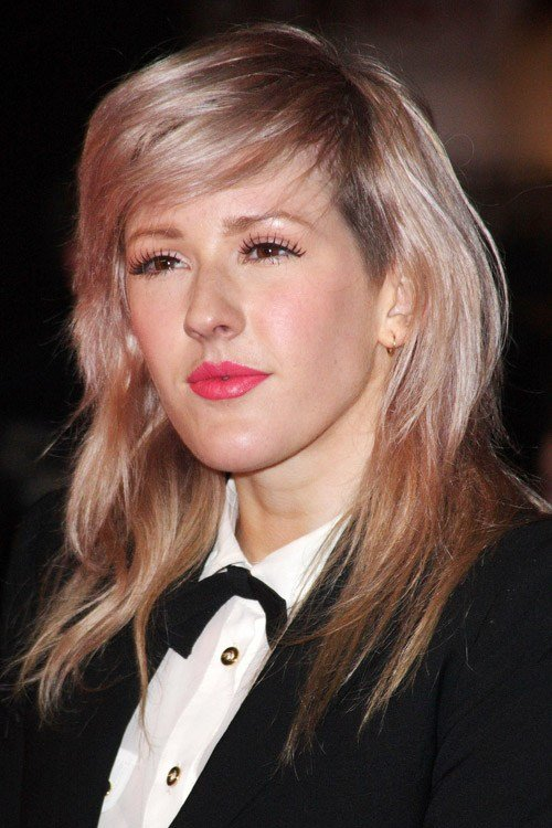 The Best Ellie Goulding Straight Light Brown Choppy Layers Sidecut Pictures