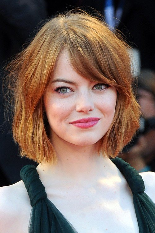 The Best Emma Stone Straight Bob Sideswept Bangs Hairstyle Steal Pictures