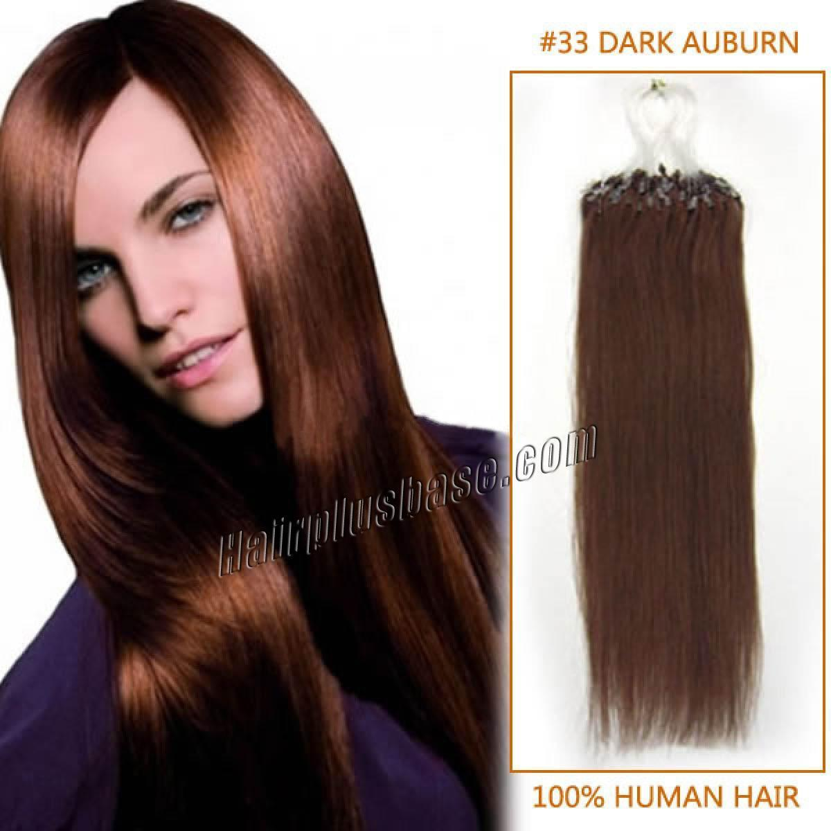 The Best 18 Inch 33 Dark Auburn Micro Loop Human Hair Extensions 100S Pictures