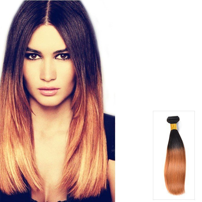 The Best 16 Inch Ombre Indian Straight Human Hair Extensions Two Pictures
