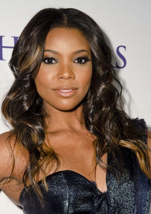 The Best Center Part African American Long Wavy Hairstyle Pictures