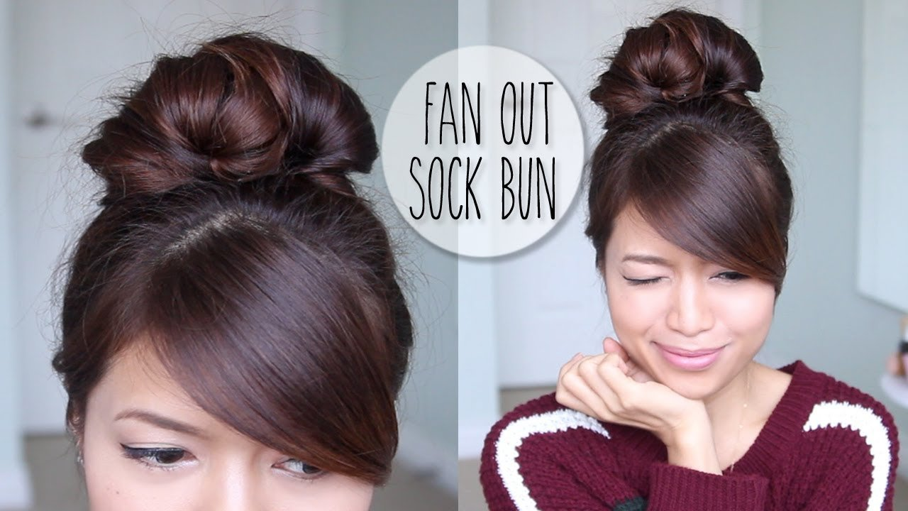 The Best Everyday Fan Sock Bun Updo Hairstyle For Long Hair Pictures