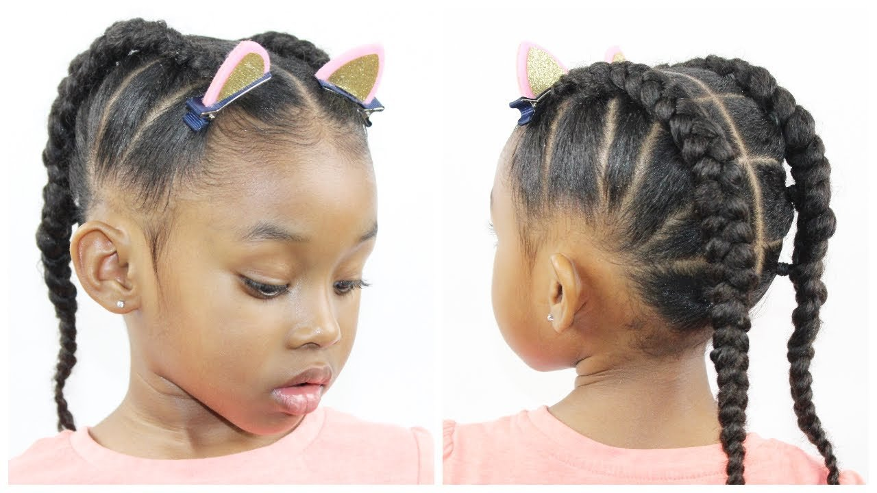 The Best Ponytail Cornrow Hairstyles For Little Girls Natural Pictures