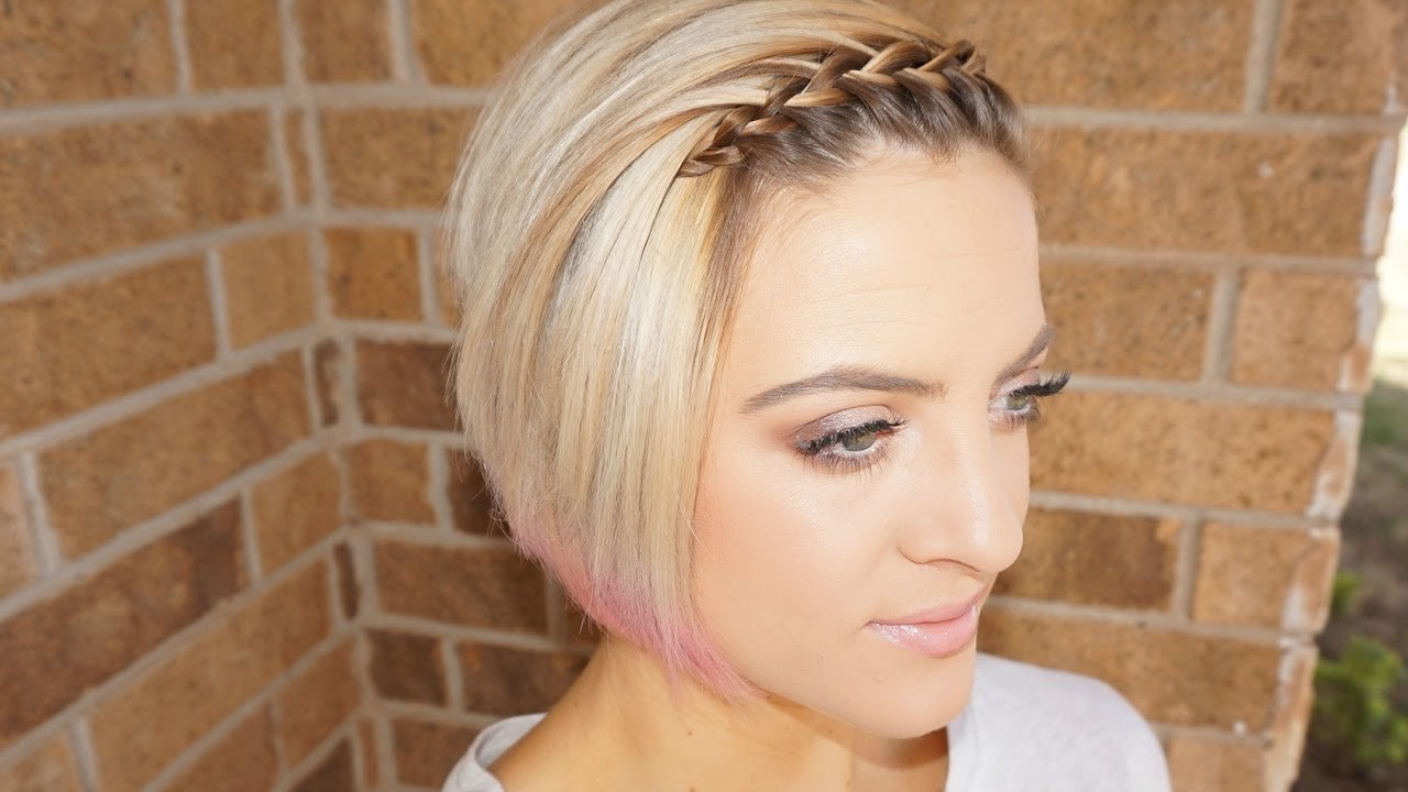 The Best Waterfall Braided Bangs Short Hair Tutorial Youtube Pictures