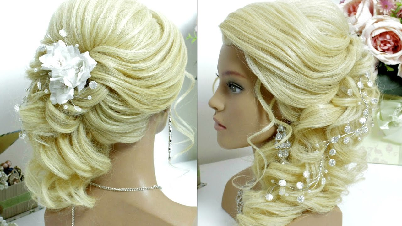 The Best Bridal Prom Hairstyle For Long Hair Tutorial Side Swept Curls Youtube Pictures