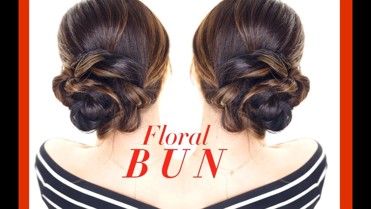 The Best Floral Side Bun Hairstyle ★ Easy Holiday Updo Hairstyles Pictures