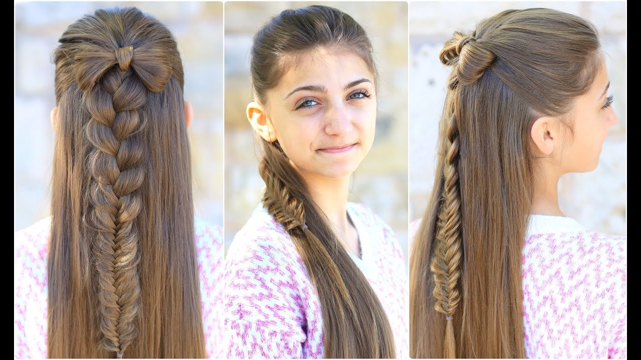 The Best Half Up Bow Combo Cute Girls Hairstyles Youtube Pictures