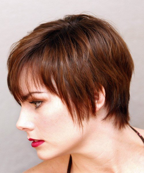 The Best Casual Short Straight Hairstyle Auburn Brunette Hair Color Pictures