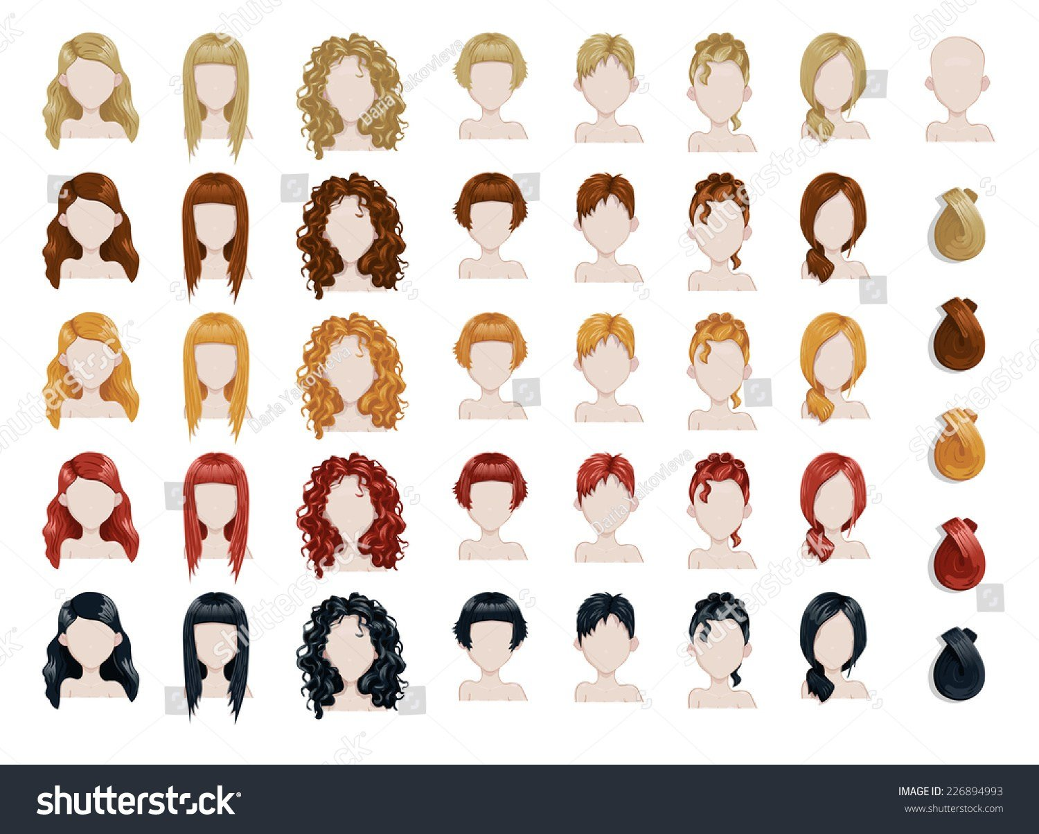 The Best Set Female Hair Style Sprites Vector Stock Vector Pictures