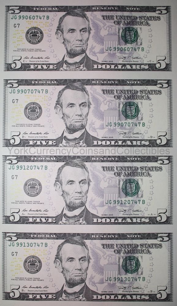 The Best Uncut Sheet Of 5 Five Dollar Bills Genuine Us Un Cut Pictures