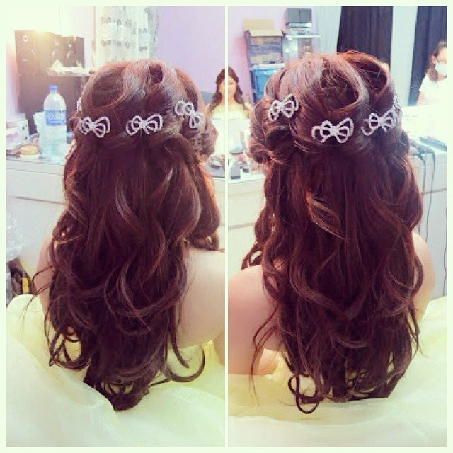 The Best Wedding Dinner Hairdo Princess Wavy Hairstyle With Bows B Pictures