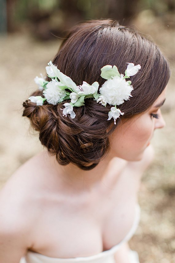 The Best Low Updo Wedding Hairstyle With White Elodie Flower Comb Tulle Chantilly Wedding Blog Pictures