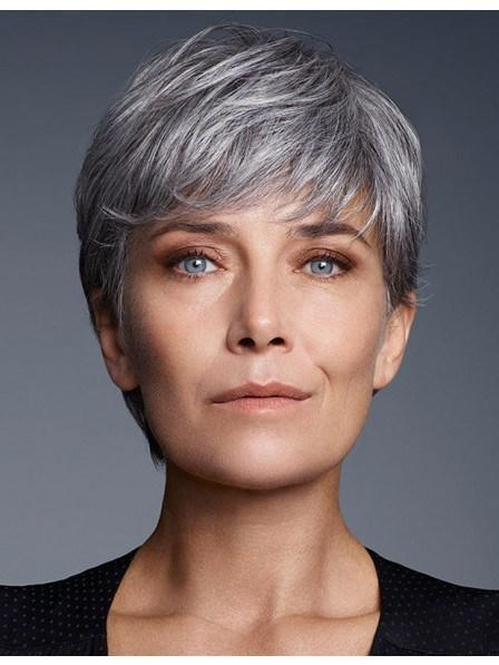 The Best Cute Short Pixie Cut Older Women Grey Hair Wig With Bangs Rewigs Co Uk Pictures