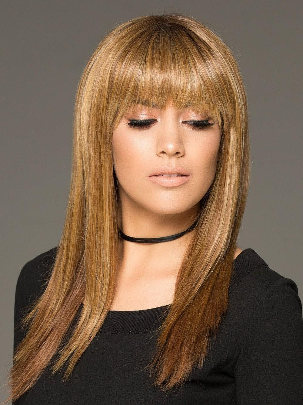 The Best Blonde Long Sleek Women Straight Wigs With Full Bangs Pictures