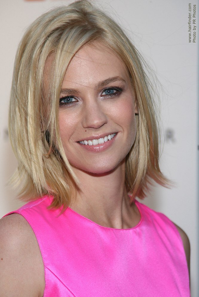 The Best January Jones Medium Length Blonde Hairstyle With A Flip Pictures