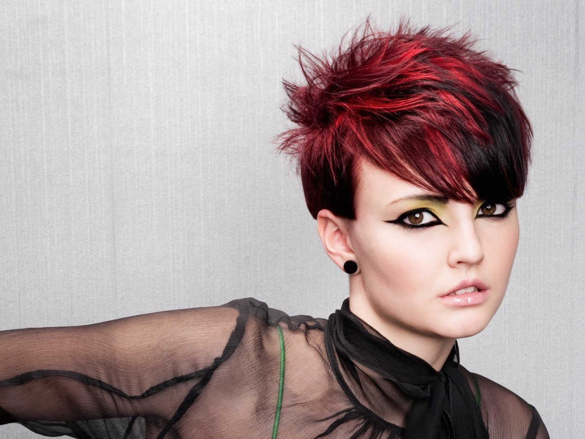 The Best Short Spiky Haircut With Daring Hair Color Contrasts Pictures
